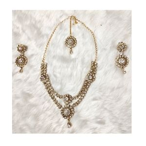 Stone-studded Necklace & Earrings Set with Maang Tikka